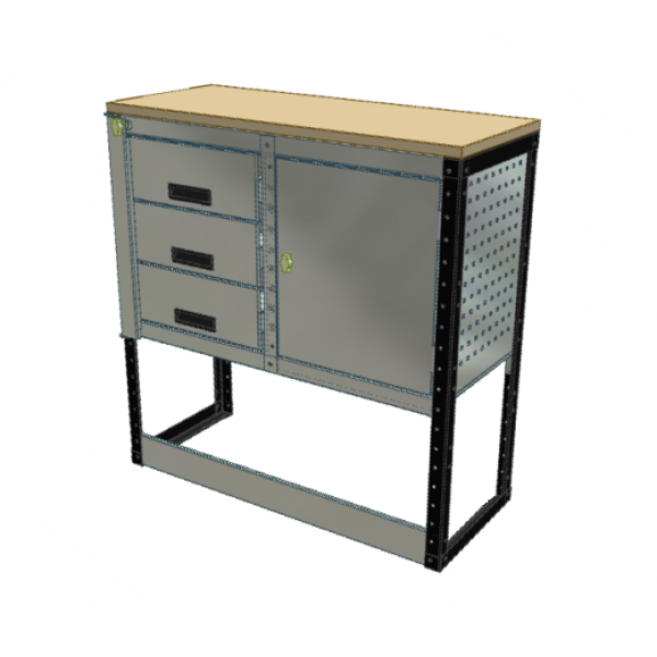 Van Racking 3 Drawer, Cabinet and Bench Unit; 1000mm x 1250mm x 330mm