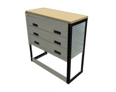 Van Racking 3 Drawer Bench Unit; 1000mm x 1000mm x 330mm
