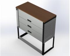 Van Racking 3 Drawer Bench Unit; 1000mm x 1000mm x 430mm