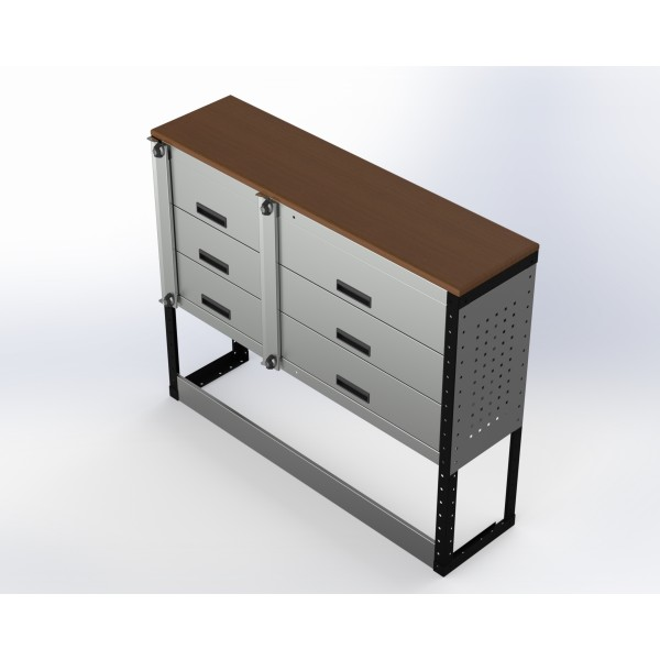 Van Racking 6 Drawer Bench Unit; 1000mm x 1250mm x 330mm