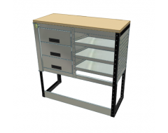 Van Racking 3 Drawer, 2 Shelf Bench Unit; 1000mm x 1250mm x 430mm