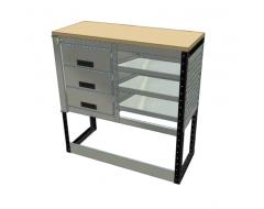Van Racking 3 Drawer, 2 Shelf Bench Unit; 1000mm x 1000mm x 330mm