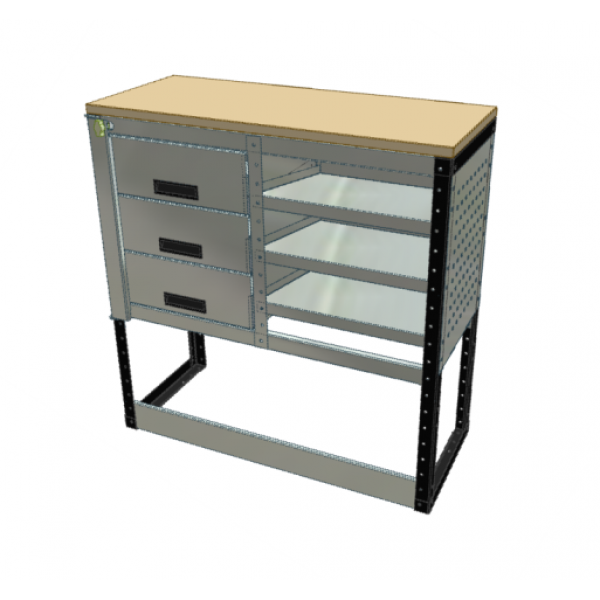 Van Racking 3 Drawer, 3 Sloping Shelf Bench Unit; 1000mm x 1000mm x 430mm