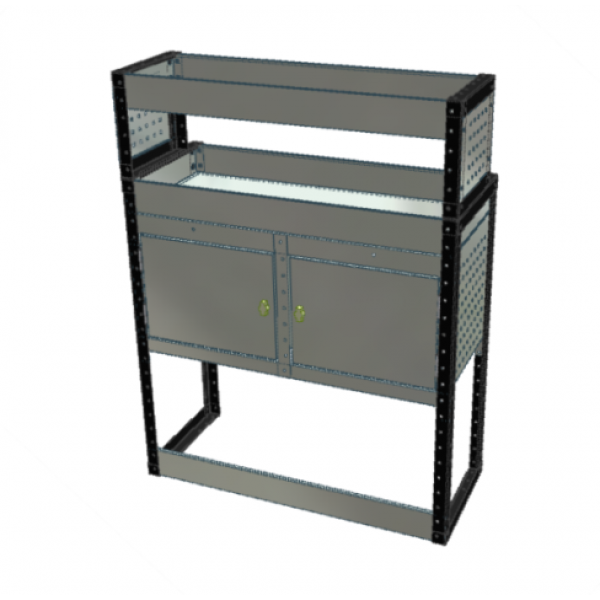 Van Racking 2 Cabinet, 2 Shelf; 1300mm x 1250mm x 430/330mm