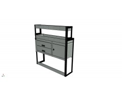 Van Racking 2 Drawer, 1 Cabinet and 2 Shelf; 1300mm x 1250mm Wide x 330/230mm