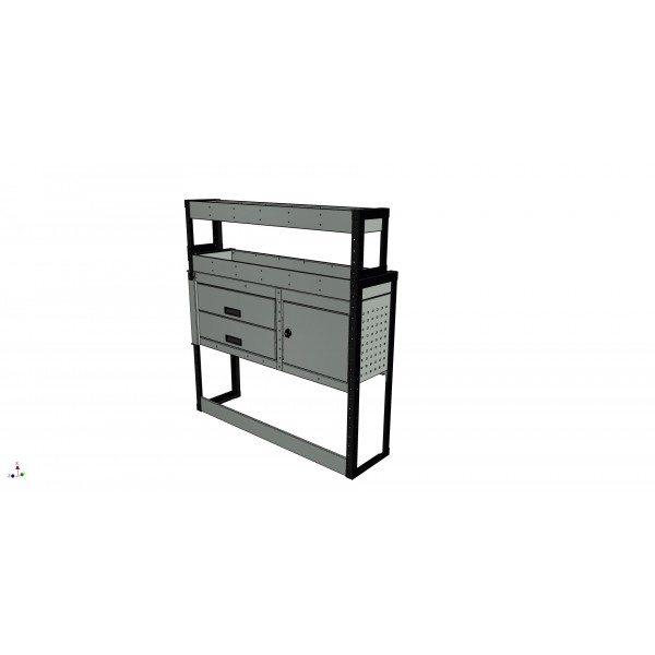 Van Racking 2 Drawer, 1 Cabinet and 2 Shelf; 1300mm x 1250mm Wide x 430/330mm