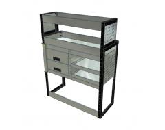 Van Racking 2 Drawer, 4 Shelf; 1300mm x 1000mm x 330/230mm
