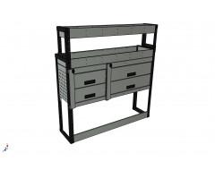 Van Racking 4 Drawer, 2 Shelf; 1300mm x 1250mm x 330/230mm