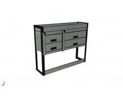 Van Racking 4 Drawer, 1 Shelf Unit; 1000mm x 1250mm x 430mm