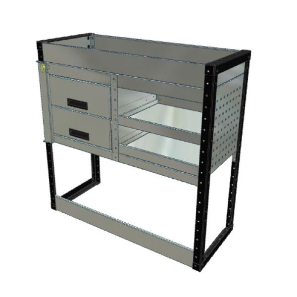 Van Racking 2 Drawer, 2 Shelf; 1000mm x 1000mm x 430mm