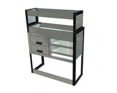 Van Racking 2 Drawers, 2 Sloping Shelves and 2 Standard Shelves; 1300mm x 1250mm x 430/330mm