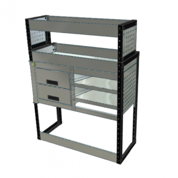 Van Racking 2 Drawers, 2 Sloping Shelves and 2 Standard Shelves; 1300mm x 1000mm x 330/230mm