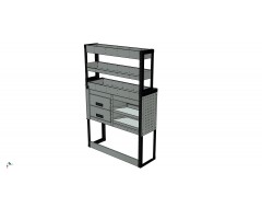 Van Racking 2 Drawer, 2 Sloping Shelves and 3 Standard Shelves; 1500mm x 1000mm x 430/330mm