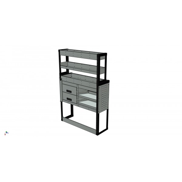 Van Racking 2 Drawer, 2 Sloping Shelves and 3 Standard Shelves; 1500mm x 1000mm x 430/330mm