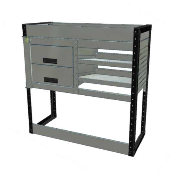 Van Racking 2 Drawer, 2 Sloping Shelf and 1 Standard Shelf; 1000mm x 1000mm x 430mm