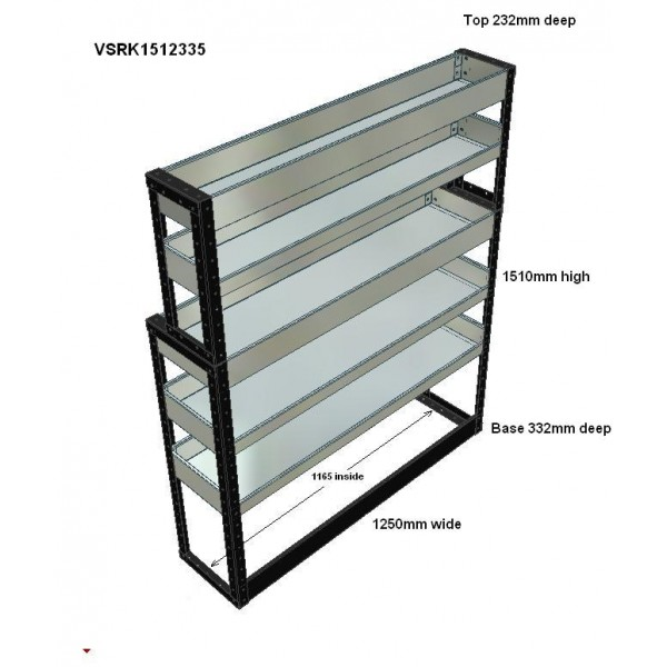 Van Racking 5 Shelf Unit 1500mm x 1250mm x 330mm